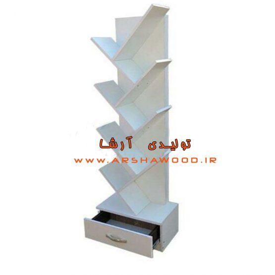 عکس کتابخانه چوبی سفید